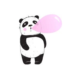 Funny panda chewing gum bubble vector