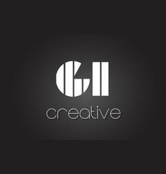 Gi g i letter logo design with white and black vector
