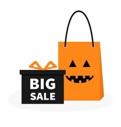 gift box ribbon and bow pumpkin face shopping bag vector image