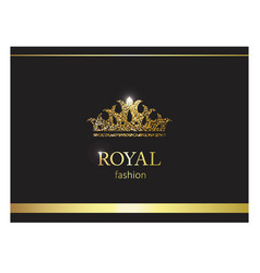 gold crown luxury label emblem or packing logo vector image