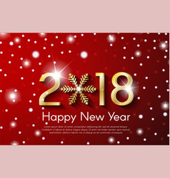Golden new year 2018 concept on red snow vector
