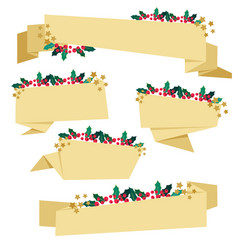 golden paper christmas berry banner collection vector image