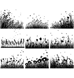 grass silhouettes backgrounds vector image vector image