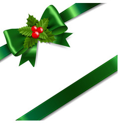 green bow with holly berry white background vector image