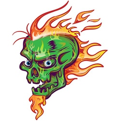 Green skull sketch design on white background vector