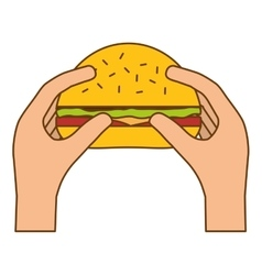 Hamburger in the hands icon image vector