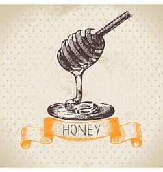 Hand drawn sketch honey background vector