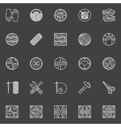 Hand made white icons vector