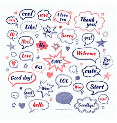 Handwriting set speech bubbles with dialog vector