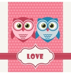 Happy Valentines Day Greeting Card with Owls vector
