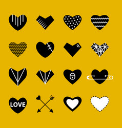 heart flat white and black modern icon vector image