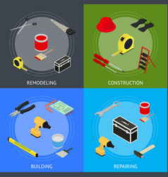 home repair banner card set isometric view vector image