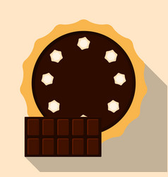 Homemade chocolate pie flat vector
