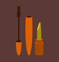 Icon in flat design fashion mascara and lipstick vector