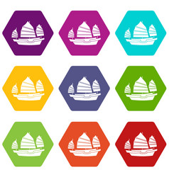 Junk boat icon set color hexahedron vector