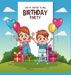 kids birthday party card invitation vector image vector image