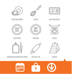 Kitchen scales whisk and grater icons vector