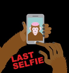 Last selfie before his death Selfie Monkey with an vector