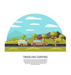 Light traveling camping template vector