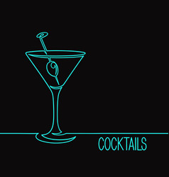 linear cocktail glass vector image