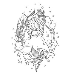 Little mermaid with beautiful hair floating with vector