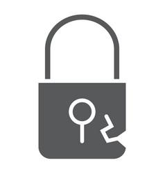 Lock breach glyph icon privacy and protect vector