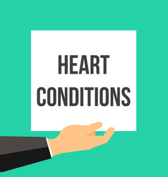 man showing paper heart conditions text vector image