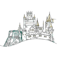 Medieval castle the historic building fairytale vector