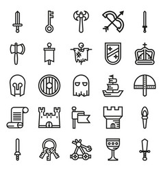 Medieval icon set of outline icons vector