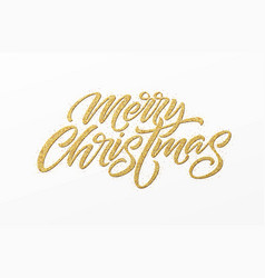 Merry christmas card with golden glitter lettering vector