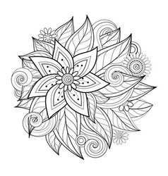 Monochrome floral composition in round shape vector