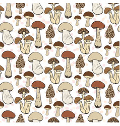 Mushroom seamless pattern autumn background with vector