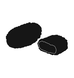 Nugget single icon in black stylenugget vector