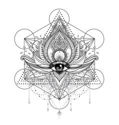 ornamental lotus flower all-seeing eye vector image