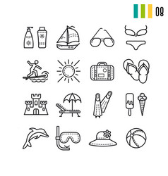 outline summer icons set vector image