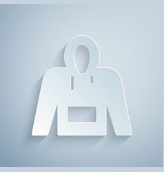 Paper cut hoodie icon isolated on grey background vector