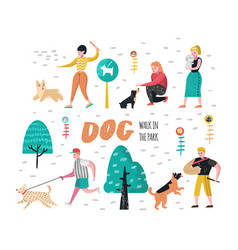 People training dogs in the park characters vector