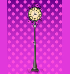 pop art bronze vintage street clock with arabic vector image