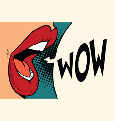 pop art mouth wow vector image