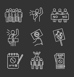 Protest action chalk icons set vector