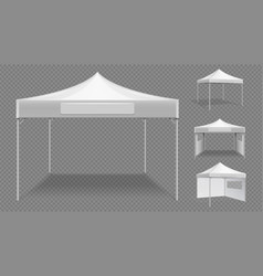Realistic white tents empty folding marquee vector