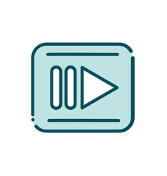 rec video player button social media line and fill vector image