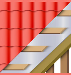 Red ceramic tiles roofing cover and layers vector