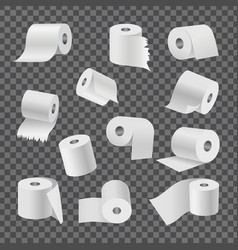Rolls toilet paper on transparent background vector
