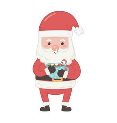 Santa holding chocolate cup decoration merry vector