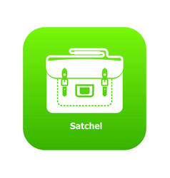 Satchel bag icon green vector