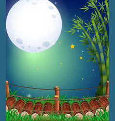scene with fullmoon over the bridge vector image