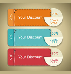 set of discount cute gift voucher certificate vector image