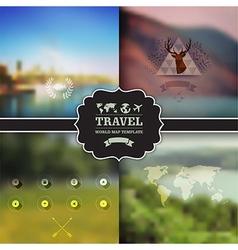 Set of four landscape with badge green landscape vector image