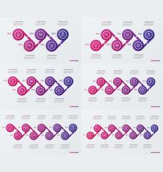 set timeline infographic design with ellipses vector image